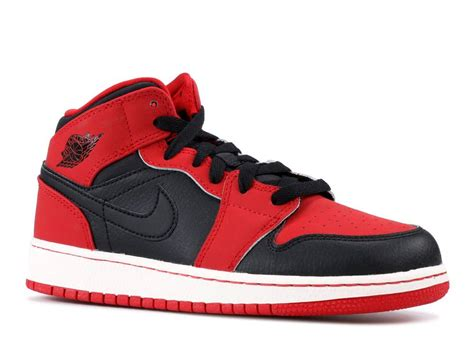 Air Jordan 1 Mid Bg Gs Gym Black Red 554725 005 Seprun