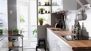 Ikea Facade Cuisine : cuisine ikea blanche faktum fa ade abstrakt blanc avec plan de travail en h tre massif numer r ~ Preciouscoupons.com Idées de Décoration