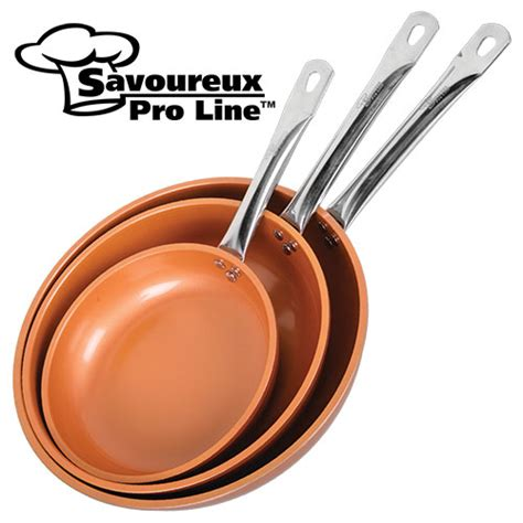 copper infused ceramic  stick frying pan set    ebay