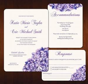 items similar to purple hydrangea wedding invitation With lavender wedding invitations etsy