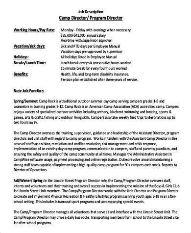sle program director description 9 exles in word pdf