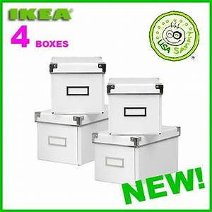 Ikea Cd Box : 4 white ikea storage cd boxes w lids container cases ebay ~ Orissabook.com Haus und Dekorationen
