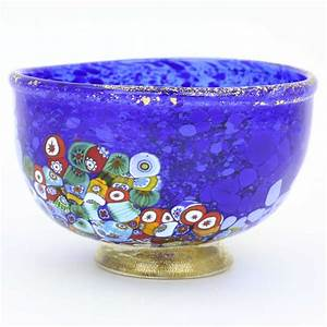 Murano Glass Vases | Murano Millefiori Art Glass Bowl - Blue  Glass