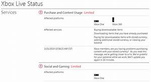 Xbox Live Services Currently 39limited39 On Xbox One Xbox 360