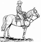 Cowboy Coloring Pages Printable Horse Cowboys Western Cowgirl Drawings Clip Clipart sketch template