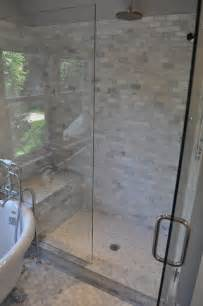 Carrara Marble Tile Bathroom by Carrara Marble Shower Transitional Bathroom Blank And Baker