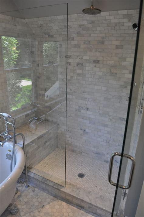 marble hex shower floor design ideas
