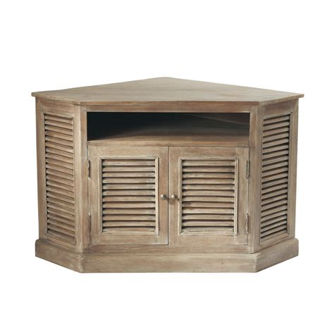 meuble rangement chambre garcon meuble tv d 39 angle en manguier grisé l 75 cm persiennes maisons du monde