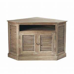 meuble tv d39angle en manguier grise l 75 cm persiennes With meuble d angle maison du monde