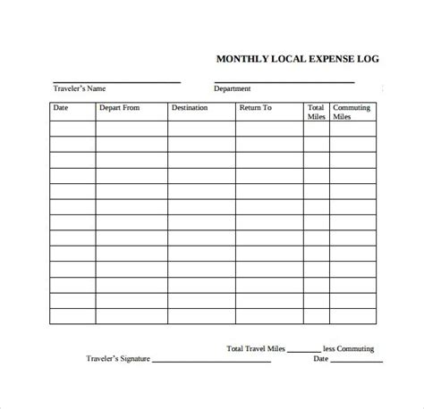 expense log templates   word excel  formats