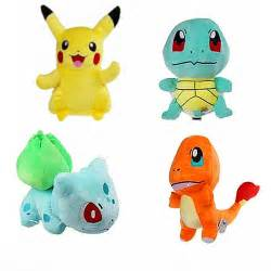 4PCS Pokemon Plush Toys Pikachu Bulbasaur Squirtle Charmander