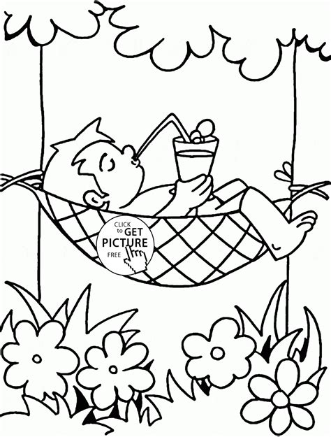Vacation In Summertime Coloring Page For Kids, Seasons Coloring Pages Printables Free Wuppsycom