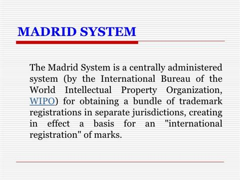 international bureau wipo madrid system