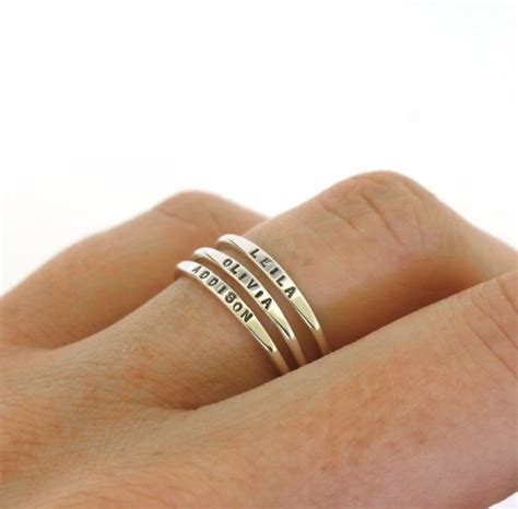 sterling silver wedding bands stackable name ring dainty name ring personalized ring with