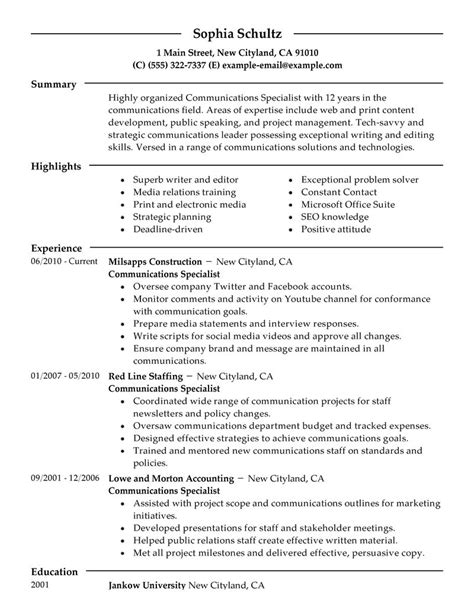 Communication Objective In Resume by Big Communications Specialist Exle Modern 2 Design This Is A Great Exle Of A