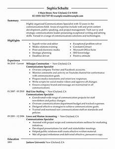 big communications specialist example modern 2 design With communication skills resume example