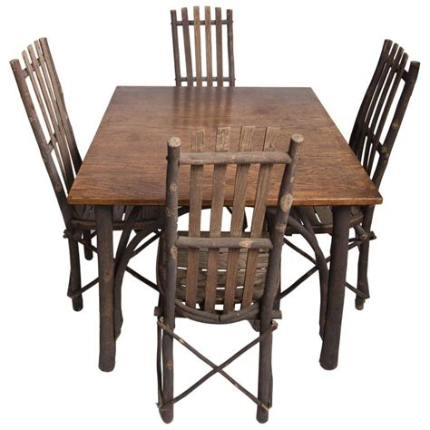 antique adirondack hickory table and chairs for sale