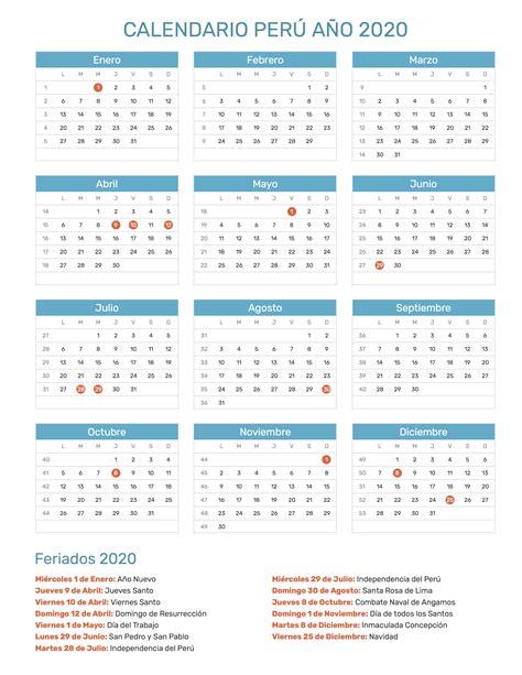 calendario de peru ano feriados