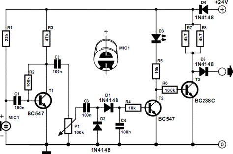 Simple Acoustic Sensor Electronic Circuits Diagram