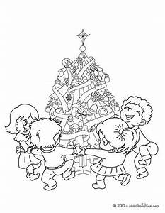 kids are dancing around the tree coloring pages With 10 dancing leds