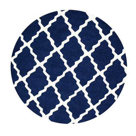 Blue Round Rugs 6 Feet nuloom trellis navy blue 6 ft x 6 ft round area rug