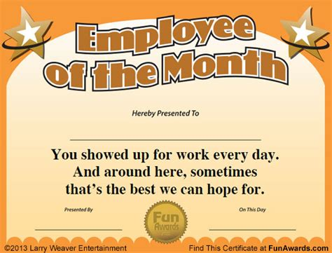 employee   month certificate  funny award template