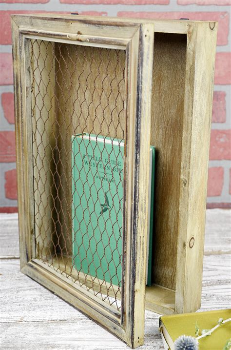 rustic wood chicken wire wall decor  hinged