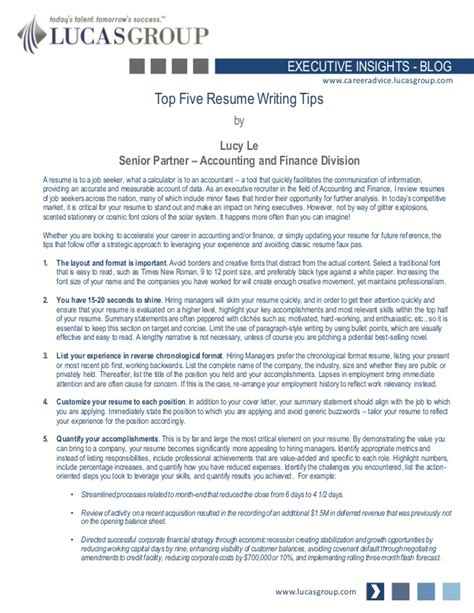 5 Tips To Write A Resume by Top Five Resume Writing Tips