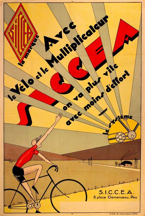 henry tajous original vintage deco cycling poster advertising siccea bicycle systems at