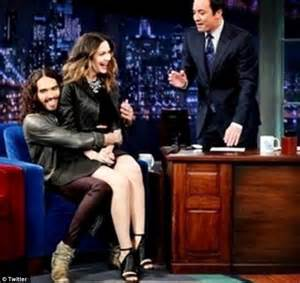 russell brand jimmy fallon russell brand bounces married katharine mcphee on his lap