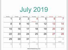 July 2019 Calendar With Holidays 2018 calendar printable
