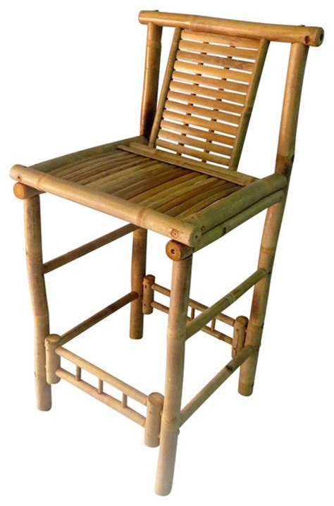 bamboo tiki bar stool with back support 18x45 set of 2