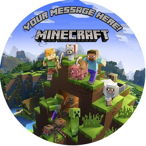 minecraft  personalised edible cake topper image