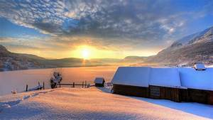 nature winter snow house house mountain day sky sun winter ...