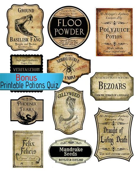 realistic harry potter potion labels wizard halloween