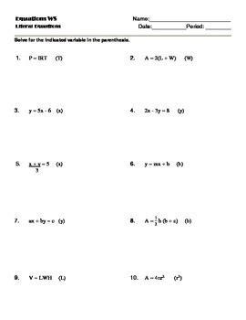 Literal Equations Worksheet Worksheets For All  Download And Share Worksheets  Free On