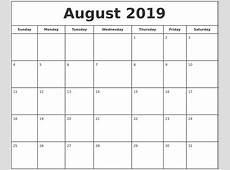 August 2019 Print Free Calendar