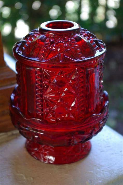 vintage red cut glass crystal ornate candle holder pedestal