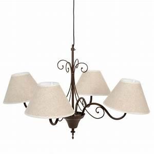 Maison Du Monde Lustre : lustre 4 branches en m tal et toile beige d 69 cm avignon ~ Melissatoandfro.com Idées de Décoration
