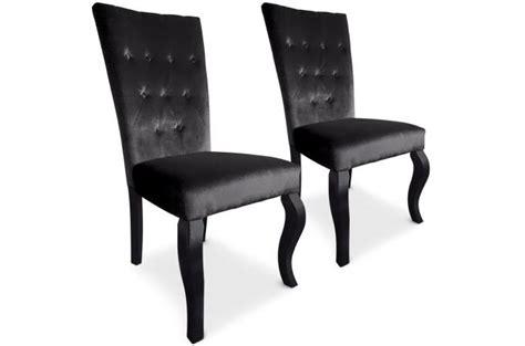 chaises capitonnées pas cher lot de 2 chaises capitonnées velours noir rockstar