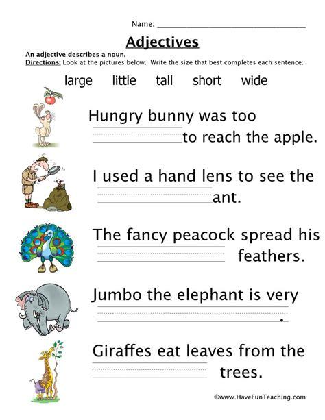 Adjectives Size Worksheet