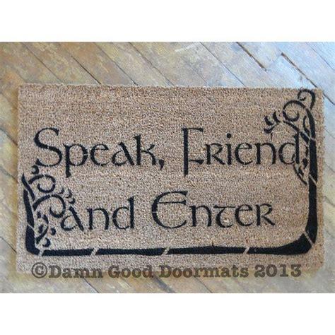 enter doormat tolkien quote speak friend and enter with trees