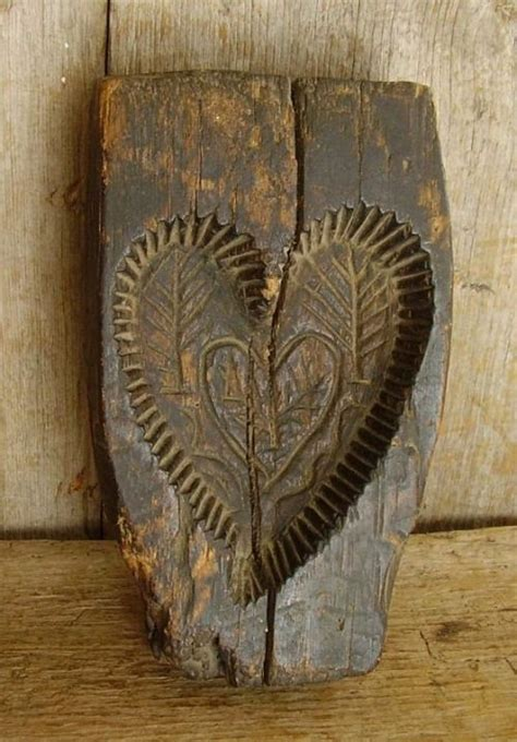 antique wooden heart butter mold wooden hearts