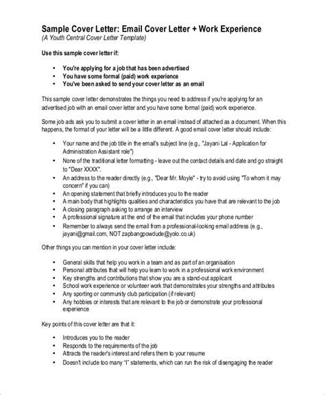 Email As Cover Letter by Sle Cover Letter 9 Exles In Pdf