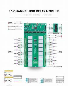 16 Channel Usb Relay Module With Gpio And Inputs