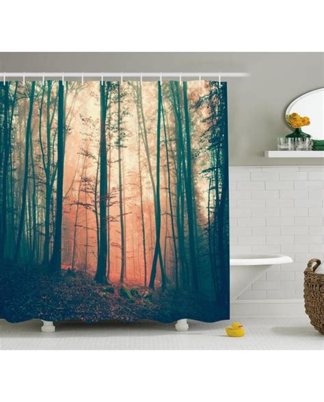 woodland shower curtain vintage shower curtain autumn forest woodland print for