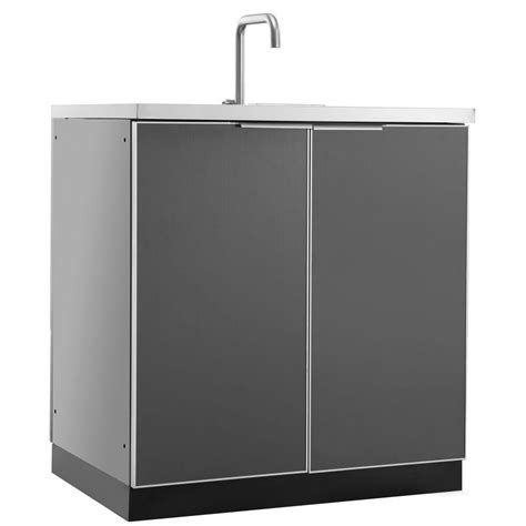 outdoor kitchen sink cabinet newage products aluminum slate 32 in 3 drawer 32x33 5x23