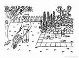 Gardener Jobs Coloring Jardinero Ocupaciones sketch template
