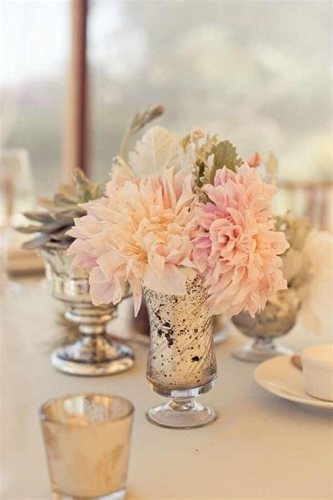 Mercury Vases Wedding - color scheme succulent in the background dusty miller