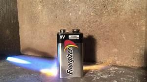 Melting A 9v Alkaline Battery   Explosion